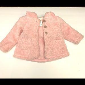 Carters Fluffy Pink Fleece Coat- 9 mths